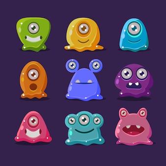 Cute cartoon jelly monsters