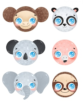 Cute cartoon jungle animals faces icons set. monkey, panda, koala, flamingo, elephant, sloth head. tropical animals emoticons pack isolated