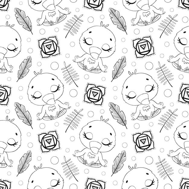 귀여운 만화 정글 동물 명상 원활한 패턴