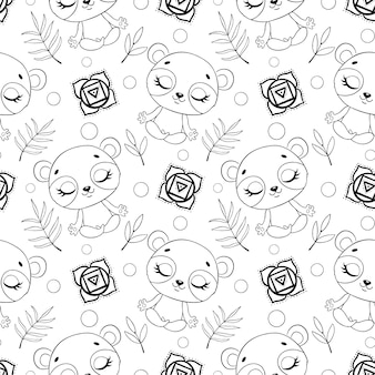 Cute cartoon jungle animals meditation seamless pattern