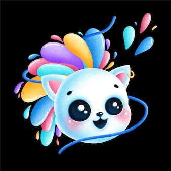 Cute cartoon kawaii cat illustration with colorful mohawk made of drops isolated