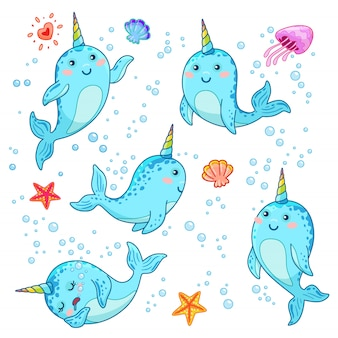 Cute cartoon kawaii narwhals with rainbow horn