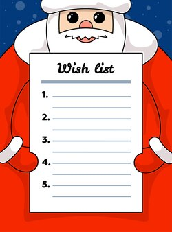 Cute cartoon kawaii santa claus holding wish list blank paper merry christmas and happy new year