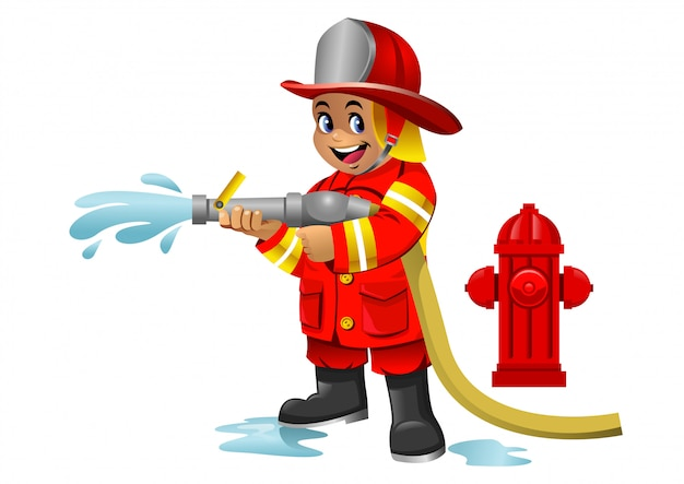 Cute cartoon kid of fire fighter