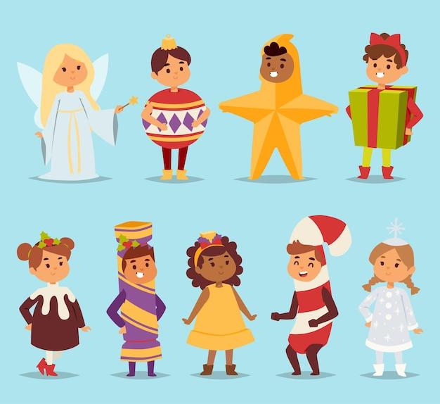 귀여운 만화 아이 카니발 휴가 의상