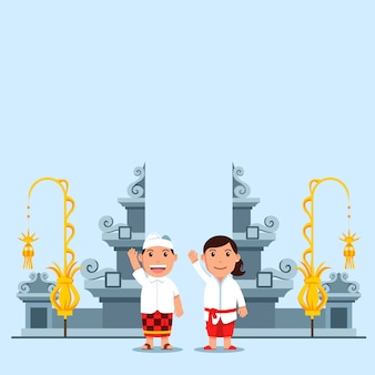 Cute cartoon kids in front of bali hindu temple gate