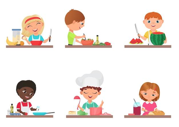 Cute cartoon kids preparing food on the kitchen set isolated