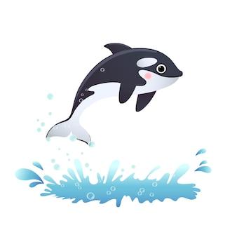 Милый мультфильм касатка прыгает из моря.