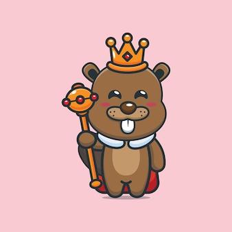 Cute cartoon king beaver vector illustration