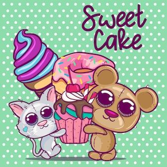 Cute cartoon kitten and bear with sweet cake.