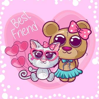 Cute cartoon kitten and bear.