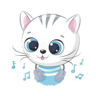 Cute cartoon kitten boy with headphones listen to music