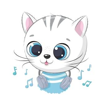 Милый мультфильм котенок мальчик с наушниками слушать музыку
