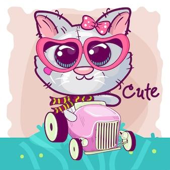 Милый мультфильм котенок для поздравительной открытки.