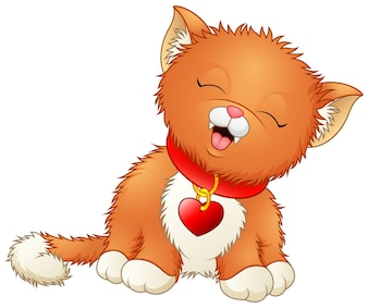 Cute cartoon kitten wearing a red collar with heart shaped tag