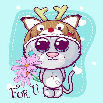 Милый мультфильм котенок с цветком.