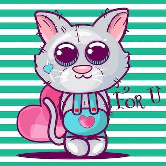 Милый мультфильм котенок с сердцем.