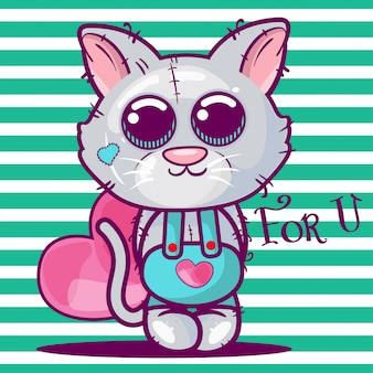 Cute cartoon kitten with a heart.