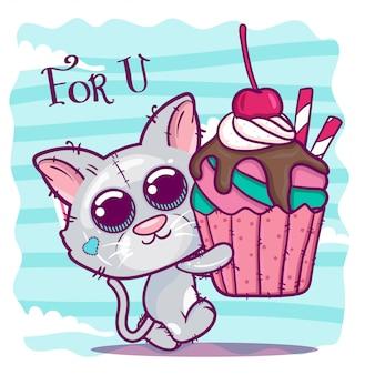 Cute cartoon kitten with a sweet cake.