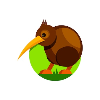 Cute cartoon kiwi bird. vector illustration. isolated on white background