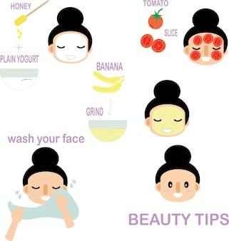 Cute cartoon lady beauty tips