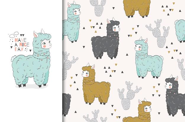 Cute cartoon lama hand drawn illustration. seamless pattern and card set