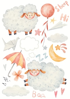 かわいい漫画の子羊、羊のジャンプ、傘、折り紙、星、月、水彩イラスト。