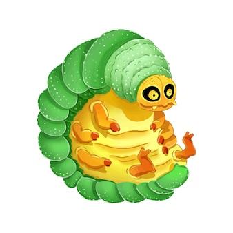 귀여운 만화 애벌레 화려한 그림