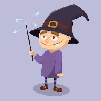 Cute cartoon lazy face wizard