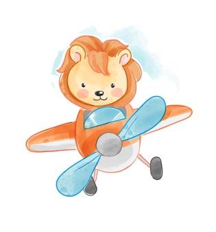 Милый мультфильм лев пилот на летающем самолете векторная иллюстрация