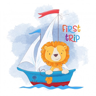 Cute cartoon lion on a sailing ship.