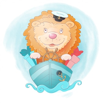 Cute cartoon lion ship captain with gifts on watercolor background.