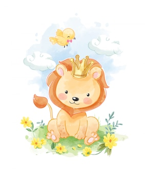 Cute cartoon lion sitting in the yellow flower field