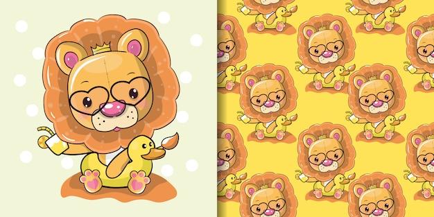 Cute cartoon lion in a summer time