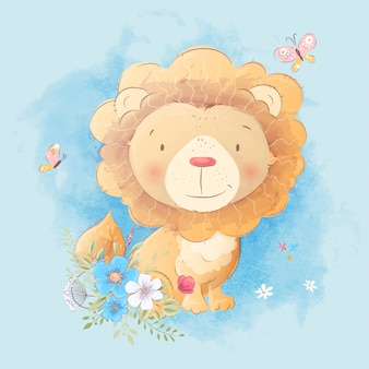 Cute cartoon of a lion with a bouquet of flowers in the style