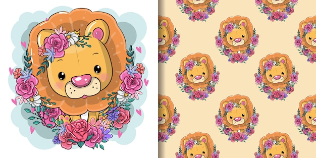 Cute cartoon lion with flowers, seamless pattern