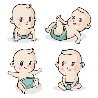 Cute cartoon little babies set