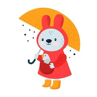 Cute cartoon little baby bunny with bird and umbrella