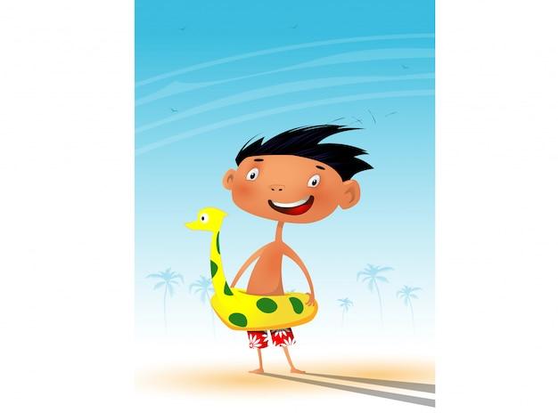 Cute cartoon little boy on the beach.