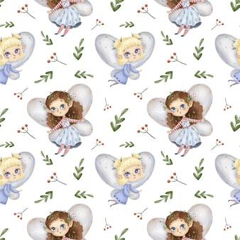 Cute cartoon little forest fairies seamless pattern