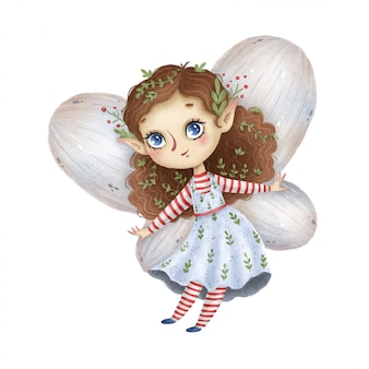 Cute cartoon little forest fairy with wings on a white background
