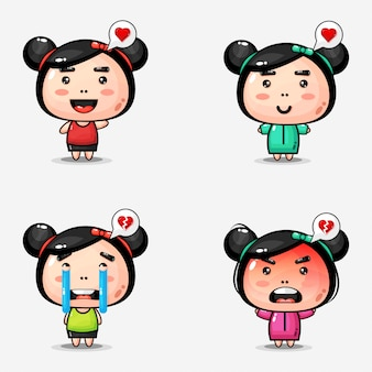 Cute cartoon little girl design collection
