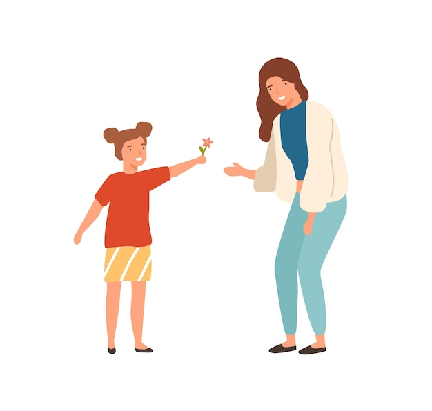 Cute cartoon little girl give flower to beautiful mother vector flat illustration. happy well mannered female child and positive young woman isolated on white background. colorful smiling family.