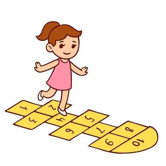 石けり遊びをしているかわいい漫画の少女