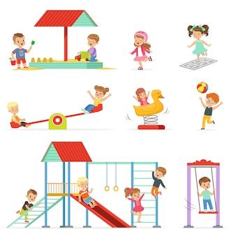 かわいい漫画の小さな子供たちが遊んで、遊び場セットで楽しんで、屋外で遊ぶ子供たちイラスト
