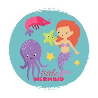 かわいい漫画の小さな人魚カード