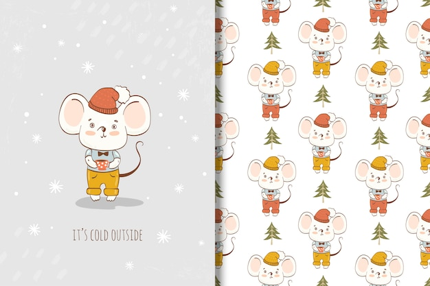 Cute cartoon little mouse with cup card and seamless pattern. winter animal