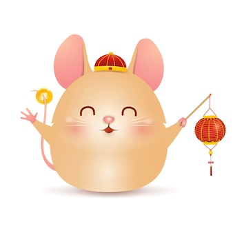 Cute cartoon little pig character design with traditional chinese red hat and holding chinese gold ingot isolated on white background. the year of the pig. zodiac of the pig