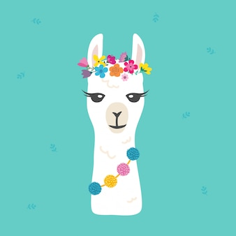 Cute cartoon llama alpaca character graphic