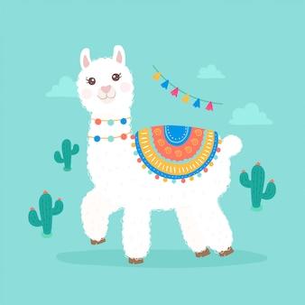 Cute cartoon llama alpaca illustration